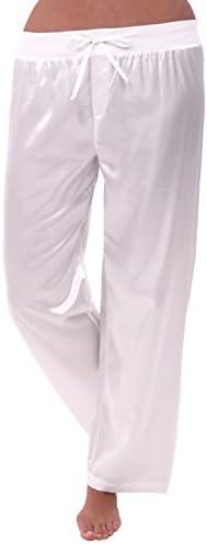 Alexander Del Rossa Womens Satin Solid Color Pajama Pants Silky Pj Bottoms
