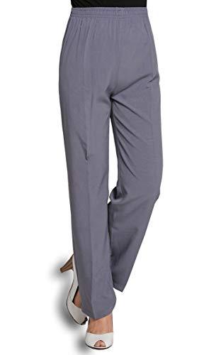 Soojun Women's Seniors Thin Soft Elastic Waist Pull On Pants, Grey, 4 Petite (Petite Elastic Waist Pant)