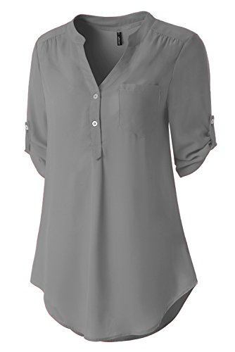 Zattcas Womens V Neck Blouses Chiffon Button Down Shirts 3/4 Roll up Sleeve Tunic Tops (Large, (Gathered Sleeve Blouse)