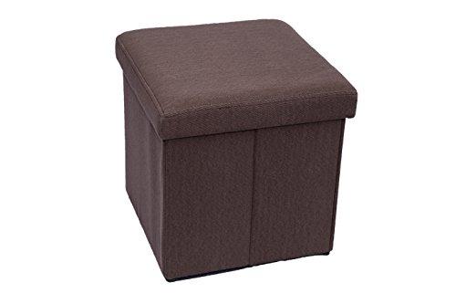 Fsobellaleo Fabric Ottoman Folding Storage Pouf Footrest Chair Brown 15