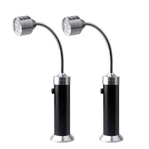 Ruxifey Barbecue Grill Light Magnetic Base Super-Bright LED BBQ Lights with 360 Degree Flexible Goose Neck Weather Resistant Black - Pack of 2