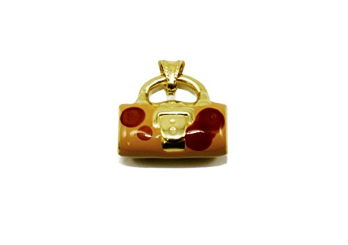 14k Gold Handbag Charm (14k Yellow Gold Enamel Polka Dot Handbag Pendant/Charm (w/ Chain))