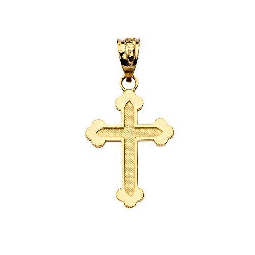 Dainty Greek Orthodox Cross Pendant in Solid 14k Yellow Gold