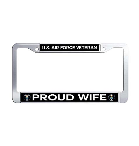 Toanovelty US Air Force Veteran Proud Wife License Plate Frame, Waterproof Auto License Plate Frame, Stainless Steel Auto License Tag Holder 6' x 12' in