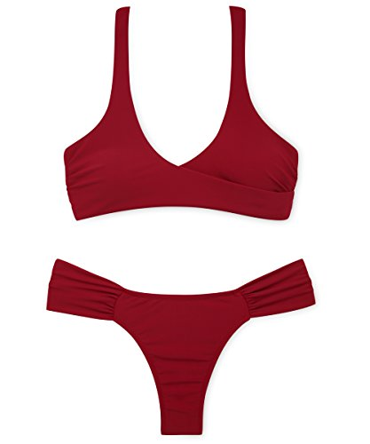 stripsky Halter Wrap Cross Front Bikini Set, Tie Back Ruched Bottom Swimsuit For Women, Winered (Back Bottom Tie)