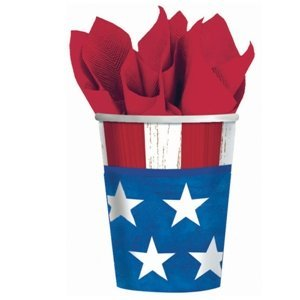 Online Stores, Inc. Patriotic Paper Cups 9oz. Package Of 25 (Online Costume Stores)