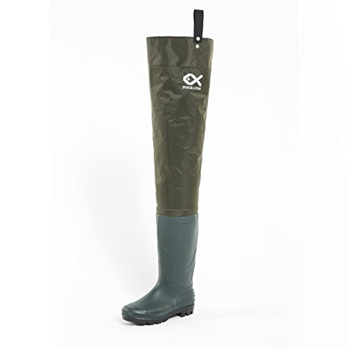 Duck and Fish Green Fishing Wader Hip Boots with Cleated Outsole (11 M US Men)