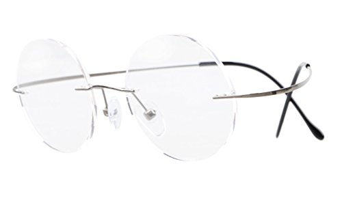 Eyekepper Titanium Rimless Round Eyeglasses 46mm Circle Optical Frame Gunmetal