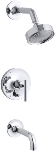 KOHLER K-T14421-4-CP Purist Rite-Temp Pressure-Balancing Bath and Shower Faucet Trim, Polished Chrome by Kohler