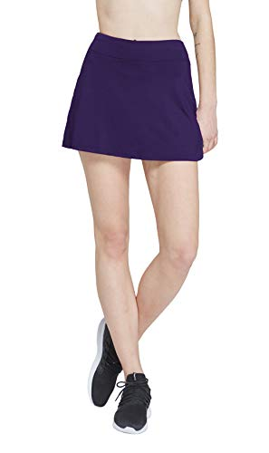 HonourSport Women Solid Color Golf Skirt with Underneath Shorts Dark Purple ()