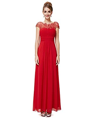 Ever Pretty Women's Lacey Neckline Open Back Ruched Bust Evening Dress 09993
