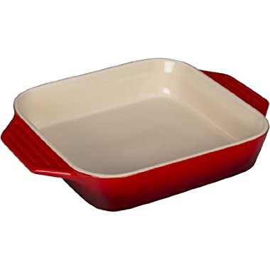 Le Creuset Stoneware Square Dish, 9.5-Inch, Cerise (Cherry Red)