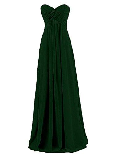 Vestidos de de Noche Oscuro Sin Dama JAEDEN Larga de de Verde Honor Gasa Vestido Tirantes de Baile Plisada wtzgnq4F