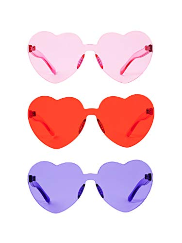 Gejoy Heart Shaped Love Rimless Sunglasses One Piece Transparent Candy Color Frameless Glasses Tinted Eyewear (3 Pairs Color B)