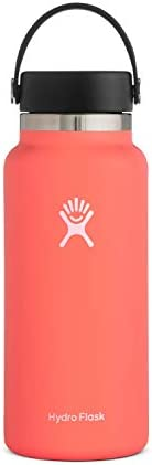 Hydro Flask Water Bottle - Stainless Steel & Vacuum Insulated - Wide Mouth 2.0 with Leak Proof Flex Cap - 32 ounces, Hibiscus