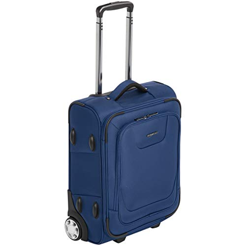 AmazonBasics Expandable Softside Carry-On Luggage Suitcase With TSA Lock And Wheels - 19 Inch, Blue