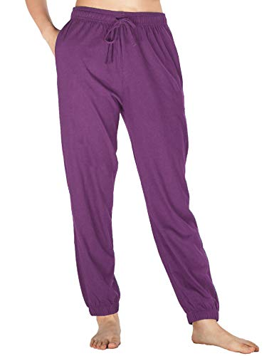 WEWINK CUKOO Womens Pajama Pants Cotton Sleep Pants Stretch Knit Lounge Pants with Pockets (L=US 12-14, Purple- Jogging Style)