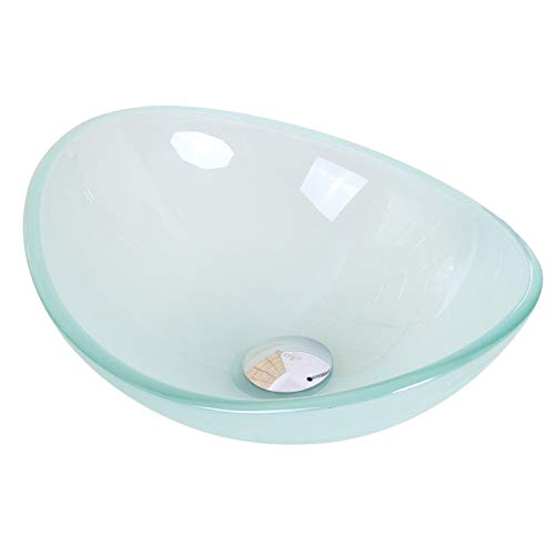 Mini Tempered Glass Boat Shaped Oval Bowl Bottom Vessel Bathroom Sink Sink Finish: Frosted