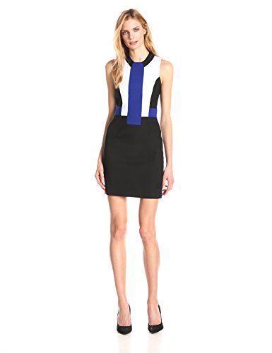 French Connection Women's Edyta Stretch Colorblock Dress, Black/Monarch Blue/Summer White, 6
