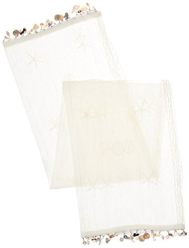 (Heritage Lace Sand Shell Table Runner, 15 by 36