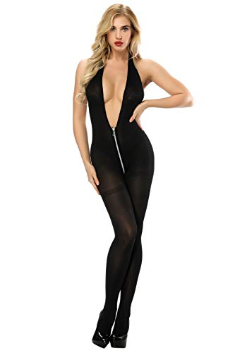 Nylon Bodystockings - Jelove Womens Lingerie Bodysuit Fishnet Bodystocking Tight Babydoll (Black-3)