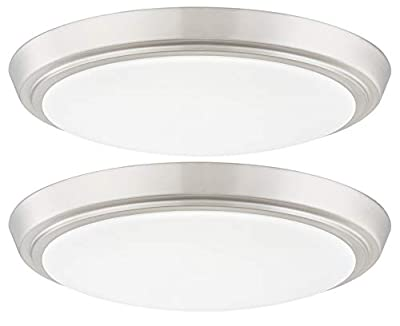 GRUENLICH LED Flush Mount Ceiling Lighting Fixture, 9 Inch Dimmable 15W (100W Replacement) 1000 Lumen, Metal Housing with Nickel Finish, ETL and Damp Location Rated, 2-Pack