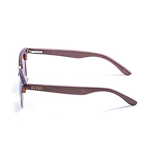 Ocean Sunglasses Remember Lunettes de soleil Demy Brown Frame/Wood Brown Arms/Revo Blue Lens I5czEFC