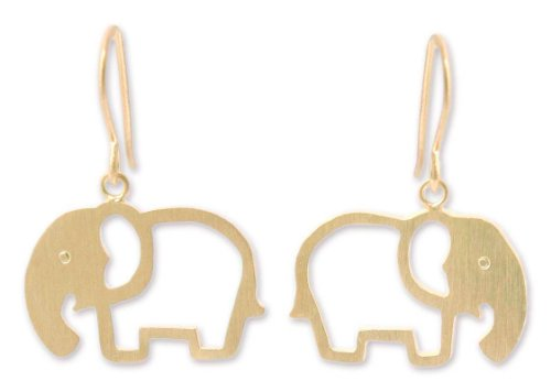 NOVICA 24k Yellow Gold Plated .925 Sterling Silver Dangle Earrings, 'Sunlit (24k Elephant Earrings)