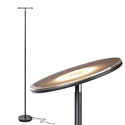 Brightech Sky LED Torchiere Super Bright Floor Lamp - Contemporary, High Lumen Light for Living Rooms & Offices - Dimmable, Indoor Pole Uplight for Bedroom Reading - Black - SUPER BRIGHT LIGHTING ~150 W EQUIVALENT LED TORCH LAMP LIGHTS UP A WHOLE ROOM - Do you want very bright light without expensive or harsh fixtures? The Brightech Sky torche lamp packs a very high 2190 lumens (at 3000K warm white), enough to light a large room. Its head easily pivots and shines light in any direction that you need it. It is available in a range of colors s that blend well with casual, contemporary, urban or ultra-mod décor. MODERN STYLE IN A DIMMABLE CORNER LAMP: The contemporary, slender SKY slides unobtrusively into narrow corners, and the base fits beneath most sofas, recliners and reading chairs. This uplight pole lamp provides warm light in your indoor space without taking much room, and its head easily pivots to shine in any direction that you need. It fits well with urban, mid century modern, casual, contemporary, or ultra-mod décor. 20 YEAR LIFE LEDs SAVE ENERGY - GET MODERN HIGH BRIGHTNESS, NOT OLD HIGH WATTAGE: The LEDs endure for more than 20 years because they don't waste energy like halogen, fluorescent, compact fluorescent and incandescent bulbs. Instead of traditional halogen torchieres drawing 150 - 300 watts, the Brightech Sky draws a mere 30. And you don't need to replace any bulb because the light is integrated. The light color is 3,000K warm white. Save money and effort with the Brightech SKY. - living-room-decor, living-room, floor-lamps - 31f9ctYqd9L. SS400  -