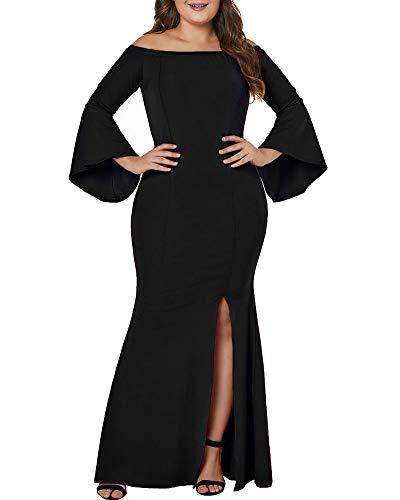 Lalagen Women's Plus Size Off Shoulder Bodycon Long Evening Party Dress Gown Black XL