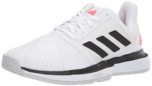 adidas Men's CourtJam Bounce Tennis Shoe, White/Black/Light Grey Heather, 9 M US (Tennis Shoes Men Size 9)