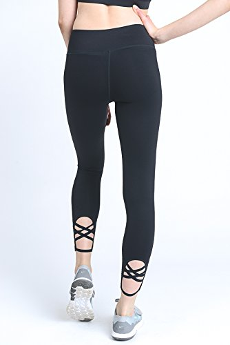 Mono B Criss Cross Back Accent Full Leggings Black Small Accent Leggings