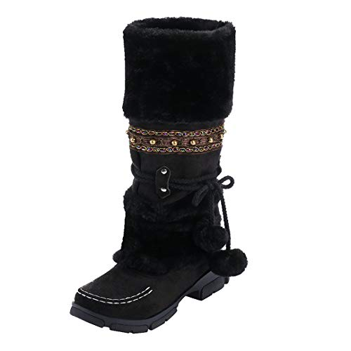 Vintage Women Suede Long Boots Cute Hairball Round Toe Square Heel Non-Slip Shoes Keep Warm Plush Slip-on Snow Boots (Black, US:6=TAG 36)