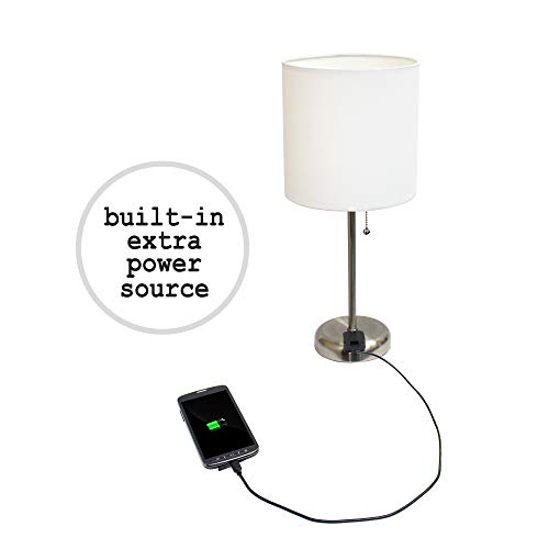 Limelights LT2024-WHT Brushed Steel Lamp with Charging Outlet and Fabric Shade, White by Limelights (Image #2)