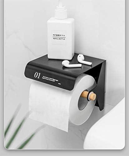 棚、浴室ストレージ防水ティッシュボックスペーパースタンド用ティッシュペーパーロールホルダーと自己粘着トイレットペーパーホルダー (Color : Black)