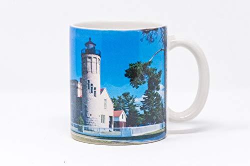 Mackinac Point Lighthouse - Old Mackinac Point Michigan Lighthouse Coffee Mug, Photograph Hand Imprinted