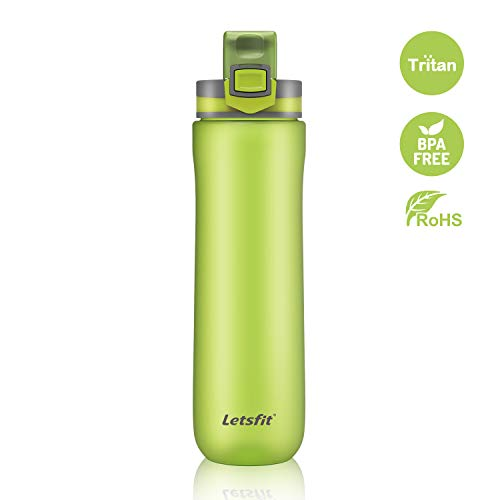 Letsfit Water Bottle, BPA-Free Sports Water Bottle with Leak Proof Flip Top Lid, Tritan Non-Toxic Co-Polyester Plastic 21oz Travel Bottle w/Carry Loop for Camping Hiking Bicycle Gym Outdoor Sports