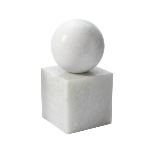 Dimond Home Marble Minimalist Bookend, White