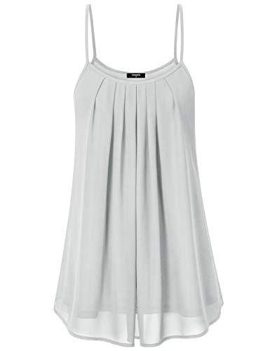 Lotusmile Camisoles, Women's Pleated Front Chiffon Layered Tunic Dress, L/LGY Light Grey ()