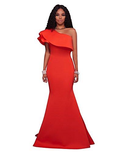 Prom amp;S vestido oblicuo Noche de Larga fiesta Maxi elegante mujer hombro Orange MEI vestido La qXxaWUwHap