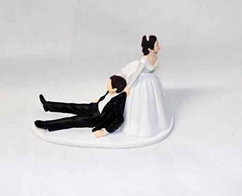 Wedding Party reception Dark Hair Bride Groom humorous Funny Cake Topper ()