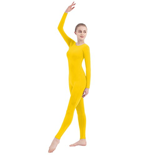 SUPRNOWA Unisex Scoop Neck Footless Lycra Spandex Long Sleeve Unitard (Small, Yellow) (Footless Unitard)