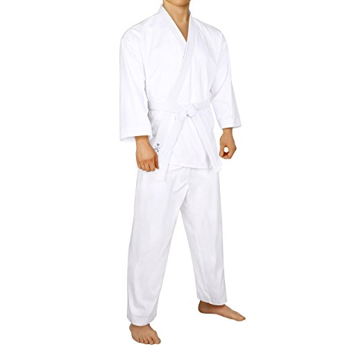FitsT4 Karate Uniform with Belt 7.5oz Elastic Drawstring Lightweight Martial Arts for Adults & Kids White,5