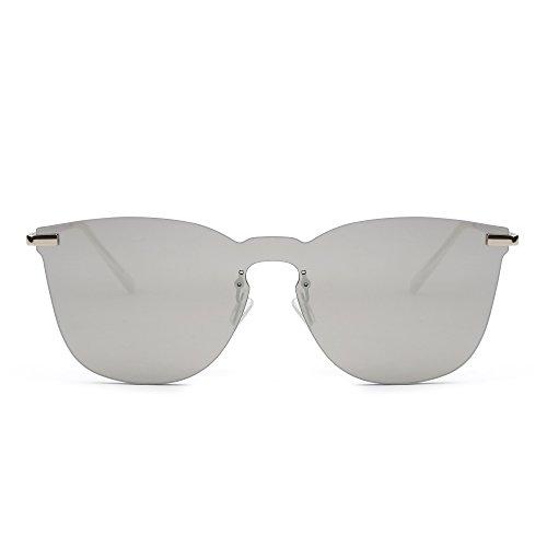 Hombre Metal Plano Espejo Plateado Marco Sol de Plateado Una Anteojos Pieza Gafas Sin Mujer Espejo de 8xPB1T