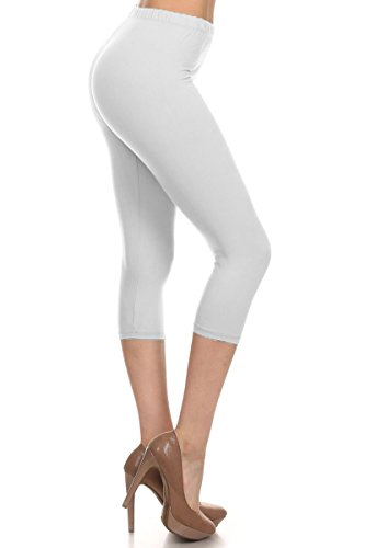 Leggings Depot Women's Popular Basic Capri Cropped Regular and Plus Solid High Waist Leggings (Plus (Size 12-24), White)