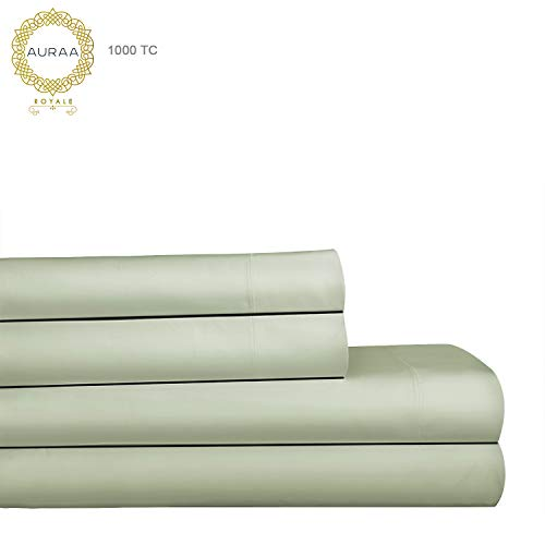 AURAA Royale 1000 Thread Count 100% American Supima Long Staple Cotton Sheet Set,4 Pc Set, King Sheets Sateen Weave,Hotel Collection Soft Luxury Bedding,Upto 18