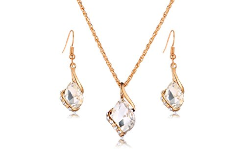 Transparent Necklace And Earring Set - Ezing Women Crystal Pendant Gold Plated Chain Necklace Earring Jewelry Set (white)