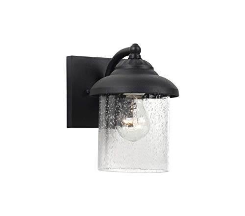 Clear Oxford Glass Seeded (Sеа Gull Lighting Premium Lambert Hill One-Light Outdoor Wall Lantern with Clear Seeded Glass Shade, Black Finish)