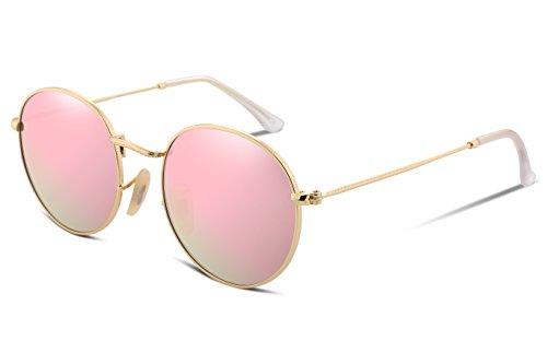FEISEDY Women Vintage Round Polarized Sunglasses Ultra-Light Metal Frame B2258 Pink