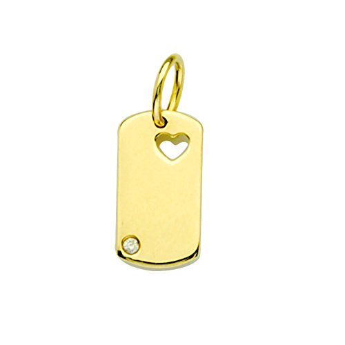 14k Yellow Gold Dog Tag Pendant Charm with Heart and Genuine Diamond (Yellow Gold Diamond Heart Tag)